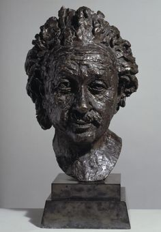 Artwork page for 'Albert Einstein', Sir Jacob Epstein, 1933 The famous physicist Albert Einstein (1879-1955) fled Germany in 1933, and was staying in a refugee camp in Britain when Epstein made this portrait bust. However, Einstein left to take up a professorship at Princeton before it was completed. Epstein later described Einstein's 'wild hair floating in the wind' and wrote that 'his glance contained a mixture of the humane, the humorous, and the profound. This was a combination that…