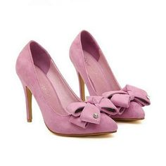 Rose colored suede Crape Myrtle bow pumps with rhinestone accent Pointed Toe Pumps, Stiletto Heels, Peep Toe, High Heels, Shoes Heels, Venus Swimwear, Latest Fashion For Women, Womens Fashion, Mix And Match Bikini