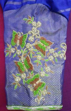 9885925155 whatsapp no Magam Work Designs, Kids Blouse Designs, Blouse Designs Silk, Butterfly Design, Work Blouse, Saree Blouse, Indian Jewelry, Kurti, Hand Embroidery