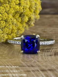 Blue sapphire engagement ring by ken dana design