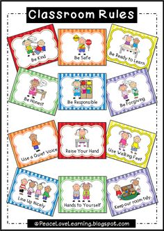 Classroom Rules Posters with pictures that really illustrate expectations.Adorable Classroom Rules Posters with pictures that really illustrate expectations. Kindergarten Classroom Rules, Preschool Rules, Classroom Rules Poster, Preschool Activities, Class Rules Poster, Toddler Classroom, Classroom Behavior Management, Classroom Organisation, Classroom Displays