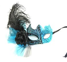 Black & Blue Masquerade Mask. Perfect for themed weddings, Halloweeen or costume party! Madamemerrywidow.etsy.com Use coupon code PINTEREST14 for free shipping!