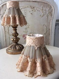 Stunning-Pair-Vintage-French-Ruffle-Lace-Candle-Shades-Lampshades