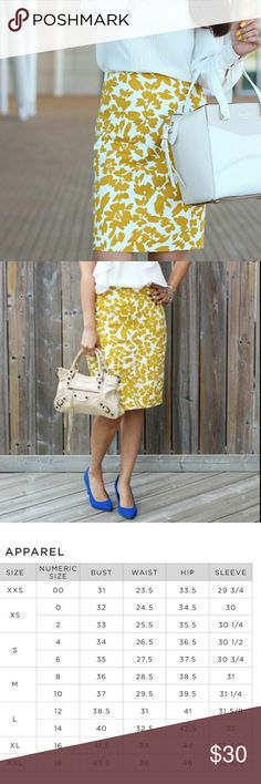 Beautiful floral LOFT pencil skirt✨ LIKE NEW! Mustard and cream pencil skirt in like new condition! More photos of actual skirt will be added when the sun comes back up tomorrow! This skirt is gorgeous and has absolutely no flaws! LOFT Skirts Pencil