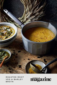 Colder weather brings a bounty of seasonal root vegetables, and there is no better time of the year to make a warming vat of soup. This low-waste root vegetable broth recipe manages to be both fancy and homely, served with carrot top pesto. Get the Sainsbury's magazine recipe