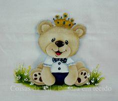 ursinho príncipe pintado em fralda de tecido