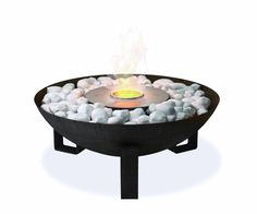 Room & Boards Dish Outdoor Fireplace: uses bioethanol, a renewable liquid fuel that burns cleanly and efficiently.
