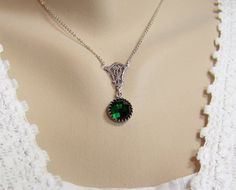 Emerald Necklace Emerald Chessboard Crystal by CreatedinTheWoods