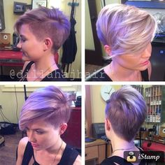 Shaved Side Pixie with Long Bangs