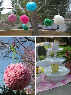 love the paper spheres hanging from tree.   love the different plates stacked for center pieces.