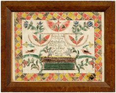 American School hand-painted fraktur, [taufschein] dated 1845 with geometric border, altar, tulips and birds, watercolor and pencil on paper, unknown artist, possibly American, 19th century, 12-1/2 x 16-3/8 in.; 19th century faux burlwood hand-painted wood frame.