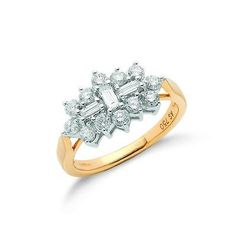 18ct Yellow Gold 1.00ct Diamond Boat/Cluster Ring