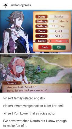 >insert family related angstM> 7 Month >insert sworn vengeance on older brotherm >insert Yuri Lowenthal as voice actor I've never watched Naruto but I know enough to make fun of it - iFunny :) Fire Emblem Awakening, Sakura Haruno, Fire Emblem Games, Fire Emblem Characters, Gamer Humor, Voice Actor, Funny Games, Manga, Animation