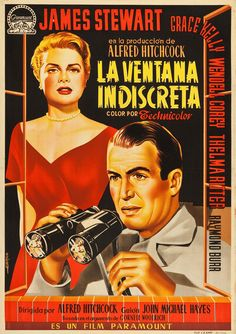 Spanish one sheet for REAR WINDOW (Alfred Hitchcock, USA, 1954) Designer: Fernando Albericio Poster source: Heritage Auctions