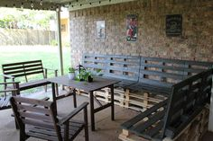 DIY Outdoor Patio Furniture from Pallets  I want to do this for my back porch but maybe shorter more asian style w/ no backs.