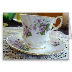 Tea Time - Vintage Violets Tea Cup Card