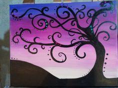 """Jewel Tree"" fun, abstract tree painting. Acrylic on 11x14 canvas. $25"