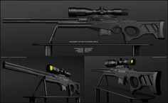 Concept of futuristic sniper rifle for fictional scenario. Design is based on usual profile but it is not working with standart bullets. There is a battery instead of mag. Picture is large to see d...