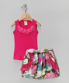 Take a look at this Hot Pink Rosette Tank & White Garden Skirt - Toddler & Girls by Mia Belle Baby on #zulily today!