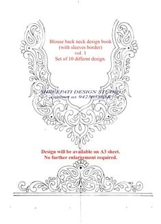 Blouse back neck design is available on paper and books Design (sketch) will be available on sheet. No further enlargement required. For more details kindly cotect: 9425058688 Simple Hand Embroidery Designs, Bead Embroidery Tutorial, Border Embroidery Designs, Floral Embroidery Patterns, Beaded Embroidery, Blouse Back Neck Designs, Blouse Neck, Pine Design, Jewelry Design Drawing