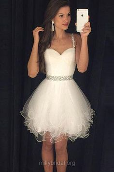 White Homecoming Dresses,Cute A-line Cocktail Dress,Sweetheart Tulle Party Gowns,Short/Mini Beading Ivory Prom Dresses