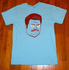 Bacon & Eggs Ron Swanson Shirt in Sky Blue by popprints, $20.00, for YOU @Andy Frew
