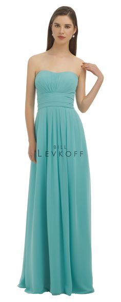 60471372ff3 Simple bridesmaid dress - Chiffon strapless gown with pleated bodice.  Folded cummerbund accents the natural