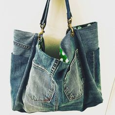 Your place to buy and sell all things handmade Airplane Carry On, Denim Tote Bags, Green Print, Casual Bags, Distressed Denim, Messenger Bag, Gym Bag, My Etsy Shop, Buy And Sell