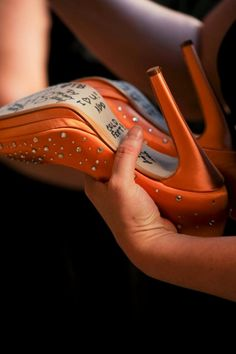 Orange Wedding Shoes Signing - LOVE THE BLING ON THE SHOESSS
