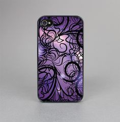 The Violet with Black Highlighted Spirals Skin-Sert for the Apple iPhone 4-4s Skin-Sert Case