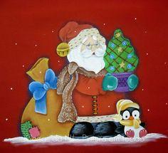 Coisas da Nil - Pintura em tecido: Papai Noel e o Pinguinzinho.