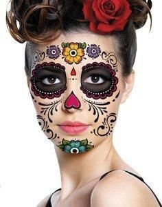 Day of the Dead Sugar Skull Full Face Temporary Tattoo Costume Halloween Dia de muertos-Mexico, cultura, tradicion – Calavera Catrina Day of the death Sugar Skull Makeup, Sugar Skull Art, Sugar Skulls, Masque Halloween, Halloween Face Makeup, Halloween Costumes, Spirit Halloween, Skeleton Costumes, Skeleton Makeup