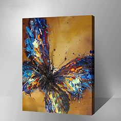 """Butterfly--Hand Painted Abstract Oil Painting Canvas-Overall Size x """" Butterfly Painting, Butterfly Art, Flower Art, Abstract Oil, Abstract Wall Art, Diy Painting, Painting Frames, Image Painting, Arts And Crafts Supplies"""