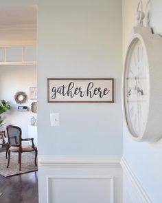 Good morning and happy Saturday! 🙌🏼 I made this sign for our dining room almost two years ago — and it hasn't fallen off the wall yet! Worldly Gray, Farm House Colors, Off The Wall, Happy Saturday, Sea Salt, Good Morning, Gallery Wall, New Homes, Dining Room