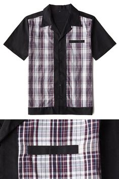 This classic bowler shirt is black and has two red and navy blue plaid panels. There is a breast pocket and black buttons down the front. Collarless Shirt Men, Rockabilly Boys, Mens Bowling Shirts, Retro Fashion, Mens Fashion, Red And Blue, Navy Blue, Blue Plaid, Menswear