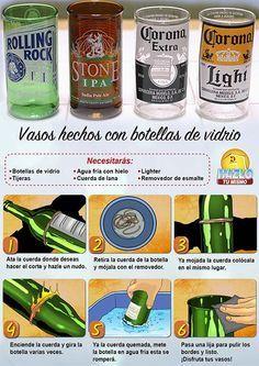 Originales vasos hechos con botellas de vidrio. #Hazlotumismo #Botellasdevidrio #reciclaje #DIY