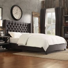 HomeVance Stanford Heights Tufted Wingback Bed, Grey ($546) ❤ liked on Polyvore featuring home, furniture, beds, grey, colored furniture, grey furniture, wing back bed, grey wingback bed and wingback bed