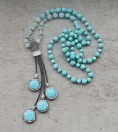 Stone Pave CZ Pendant Leather Tassel Amazonite Beads Bohemia Handmade Necklace, Boho Sparkle 30-32inch long
