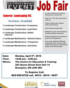 Looking for work? This Monday April at - don't miss the Cameron Landscaping Inc. Job Fair - Hiring for SIX different positions! - Bring a resume and dress for success! Construction Leads, Safety Rules, Youth Programs, Job Fair, Education And Training, Dress For Success, Job Search, Rsvp, All About Time