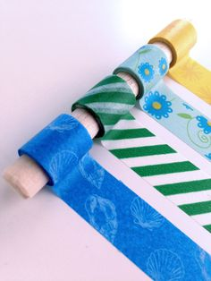 Blue Bouquet - The star of this set is a cute blue flower-patterned tape, with coordinating color tapes to match.