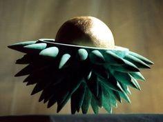 #bronze Floral, Fruit and Plantlife #sculpture by #sculptor Anja Roemer titled: 'Awaiting Spring (abstract Round Chestnut sculpture)'. #art #artist #artwork #AnjaRoemer