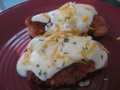 This is one of my son-in-laws favourite chicken recipes. This recipe can also be made lighter for those on a low fat diet by using a low fat cheese and trim/light milk and frying in a non stick pan which has been lightly sprayed with cooking spray/oil