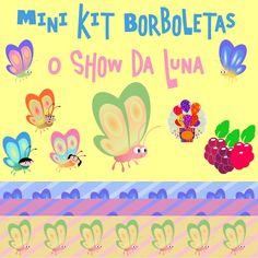 mini kit scrapbook borboletas o show da luna elementos e papeis