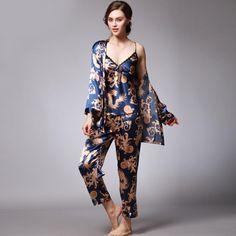 Sexy Loungewear 3 Pieces V-Neck Women Pajamas Set. Silk ... c7379cde8