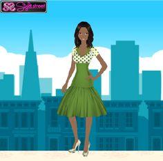 Pea Shoot Dress with Polka Dots