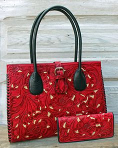 A Cowgirl's Promise - Juan Antonio Red Tooled Leather Handbag Tote with Ivory Inlay