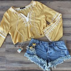 LAST!Yellow Embroidered Split Bell Sleeve Crop Top The perfect top has arrived. Channel your inner bohemian babe in our favorite crop top of the season! Tops Crop Tops