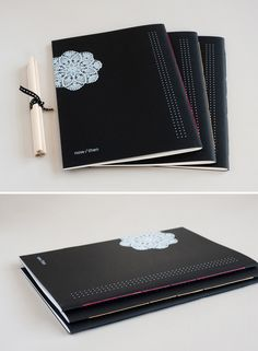 Special notebook with hand-stitched binding. Unique white ink printing on premium black paper.