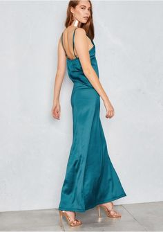Petunia Teal Cami Thigh Split Maxi Dress Missy Empire