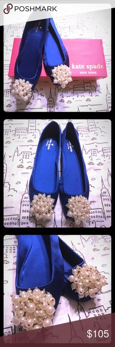 Kate Spade NIB Blue Satin w/ Pearls Size 8 Flats Kate Spade Blue Satin w/ Pearl Clusters Ballet Flats - Size 8 -  Brand New in Box & Never Worn!  These lovely Kate Spade flats are full of whimsy, but also perfect paired with a nice cocktail dress on date night!  The royal blue satin is striking in person and adorable on!  Sadly, I bought these a while back and never found a great opportunity to wear them so my loss is your gain! kate spade Shoes Flats & Loafers